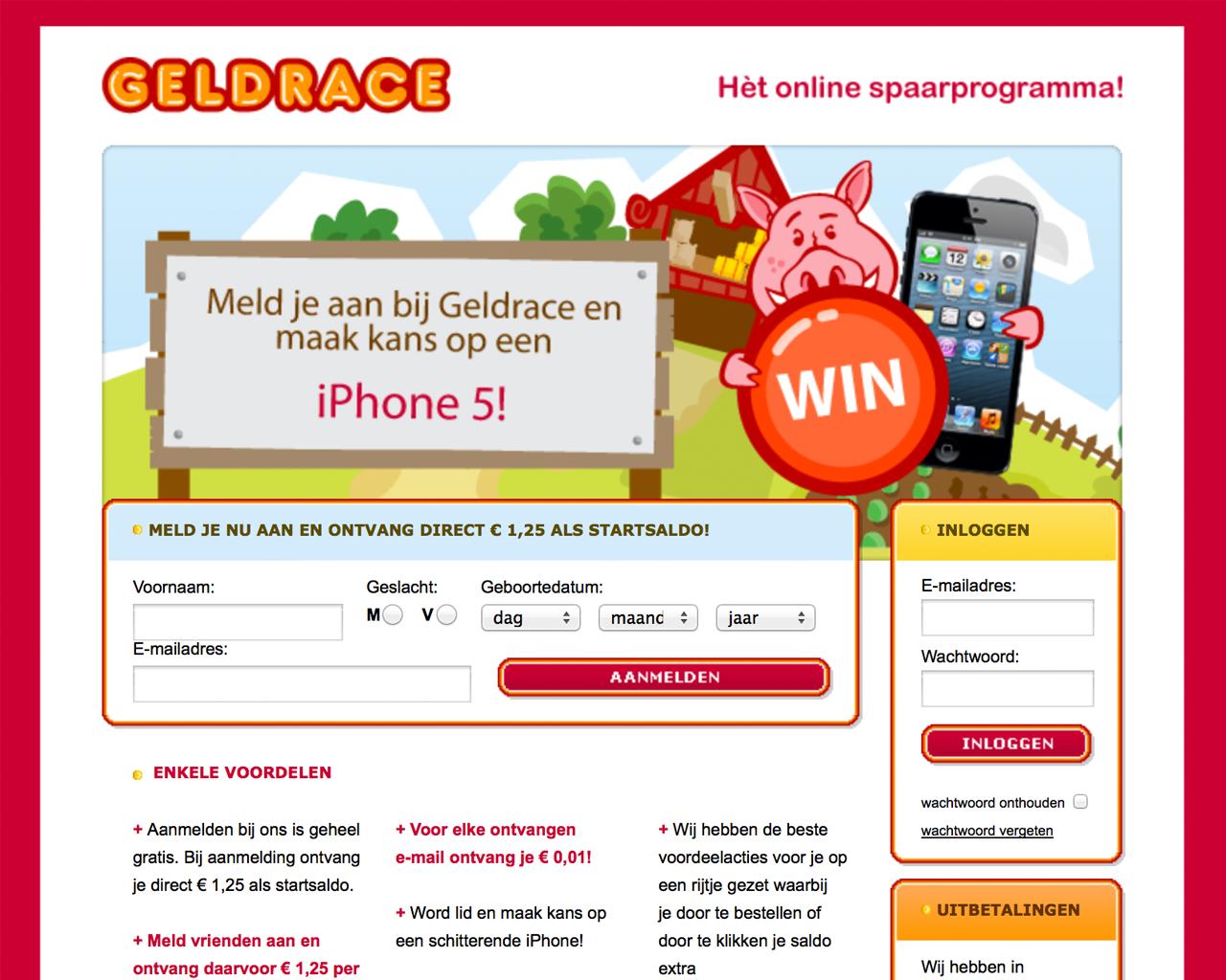 Verdien geld op internet met Geldrace