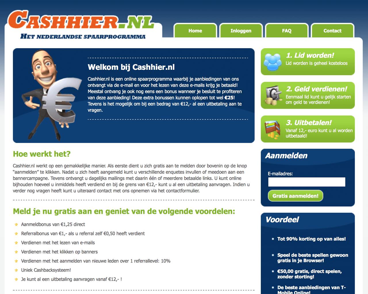 Verdien geld op internet met CashHier
