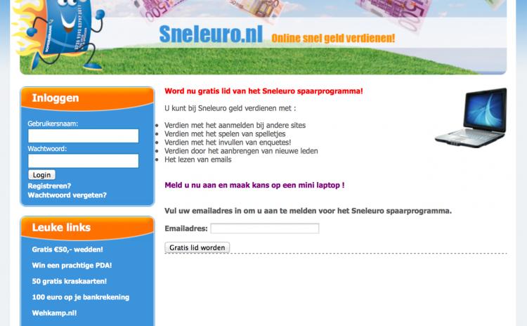 Snel geld met het Sneleuro spaarprogramma