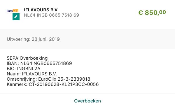 EuroClix betaling juni 2019 online